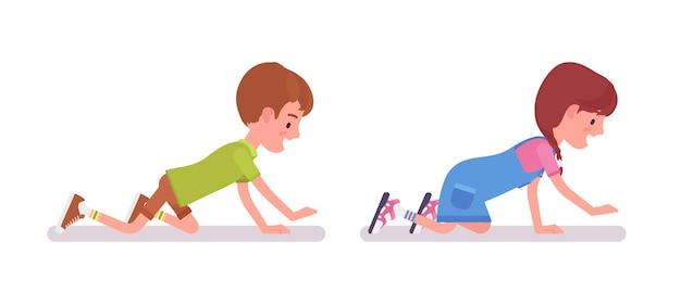 7세에서 9세 사이의 소년과 소녀, 활동적인 행복한 학령기 남성과 여성 아이가 기어 다니고, 재미있는 게임을 하고 있습니다. 벡터 평면 스타일 만화 그림 흰색 배경에 고립
