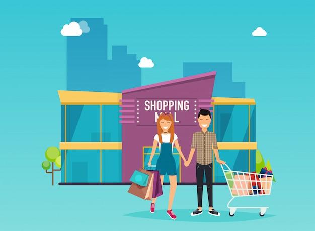 Мальчик и девочка делают покупки. внешний вид здания торгового центра.