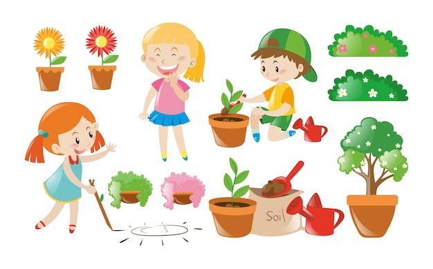 Мальчик и девочка делает работу в саду