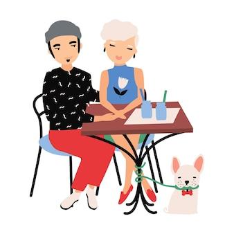男の子と女の子が一緒にカクテルを飲み、ペットの犬がテーブルの下に座っています。ロマンチックなディナーを受け入れるカップル。カフェで男性と女性の漫画のキャラクター。フラットなカラフルなベクトル図