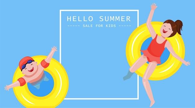소년과 소녀는 수영장에서 즐긴다 여름 판매 배너 개념