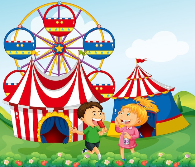 Мальчик и девочка наслаждаются цирковой иллюстрацией