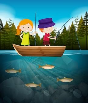 少年少女と湖の釣り