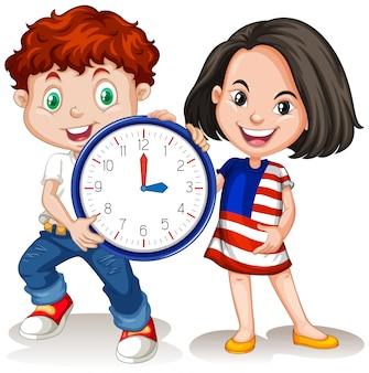 소년과 소녀 시계를 들고