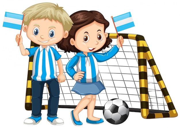 男の子と女の子のニカラグアの旗を保持