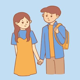 소년과 소녀 손을 잡고 귀여운 그림 손으로 그린