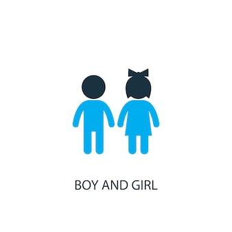 소년과 소녀 아이콘입니다. 로고 요소 그림입니다. 2 컬러 컬렉션에서 소년과 소녀 기호 디자인. 간단한 소년과 소녀 개념입니다. 웹 및 모바일에서 사용할 수 있습니다.