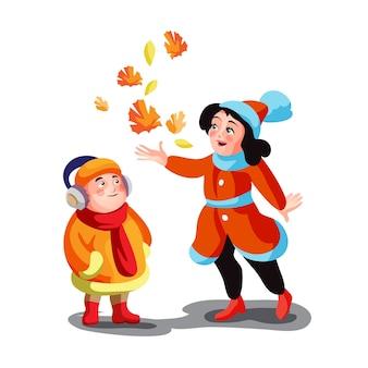 Мальчик и девочка в осенней одежде, играя с листьями на улице иллюстрации шаржа.