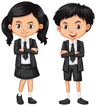 검은 양복을 입은 소년과 소녀