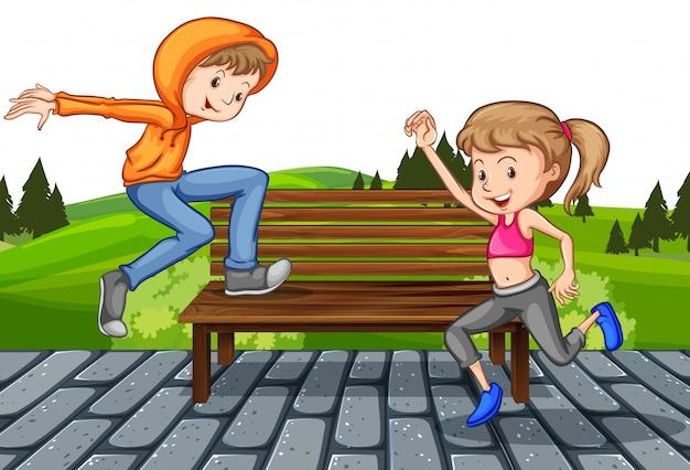 男の子と女の子が公園で