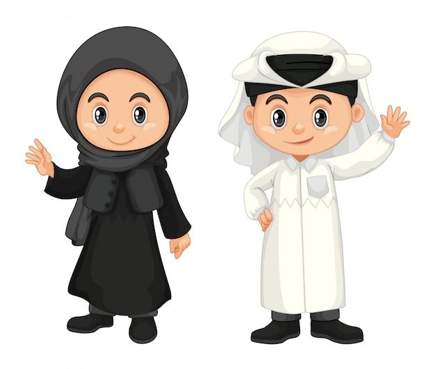 카타르 의상에서 소년과 소녀