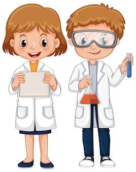 과학 가운에 소년과 소녀