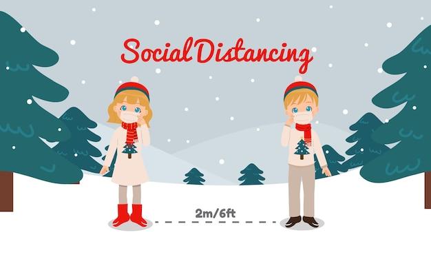 冬服の男の子と女の子は、コロナウイルスのパンデミックの間、社会的距離を保ちます