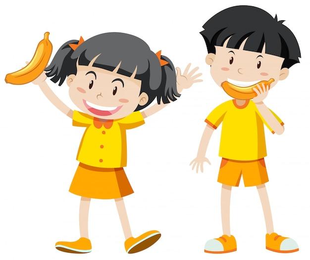 男の子、女の子、黄色、服、バナナ