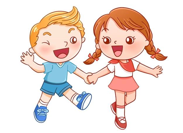 Мальчик и девочка смеются и держатся за руку