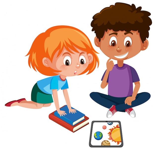 男の子、女の子、タブレットで学ぶ