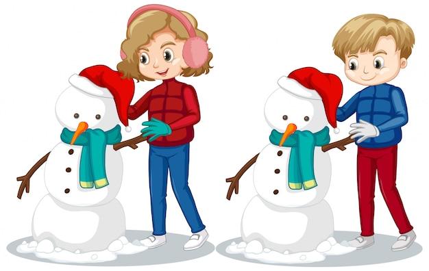 男の子と女の子の雪原で雪だるまを作る
