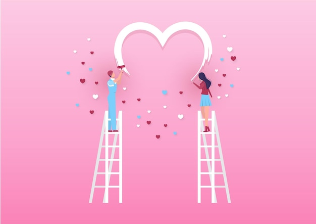 소년과 소녀는 롤러로 벽에 하트를 그립니다. 발렌타인 데이 핑크 배경 벡터입니다.