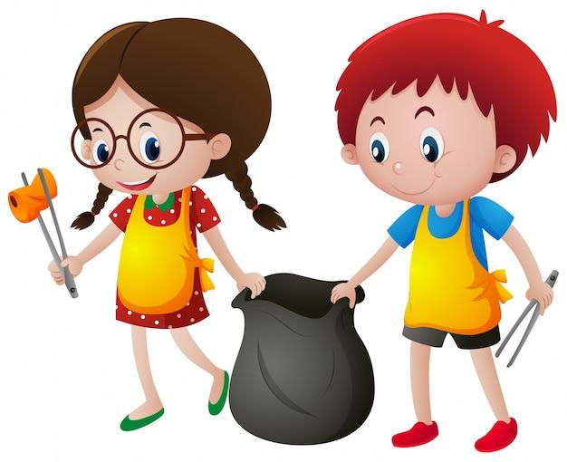 Мальчик и девочка собирают мусор