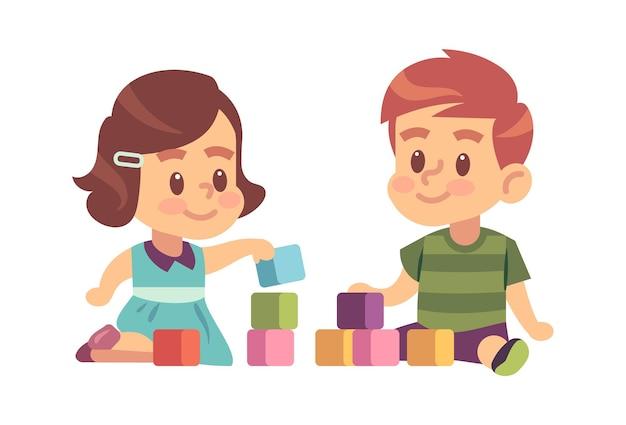 소년과 소녀는 큐브를 재생합니다. 함께 바닥에 있는 블록에서 건물을 짓는 친절한 아이들, 어린이 캐릭터 교육 개념