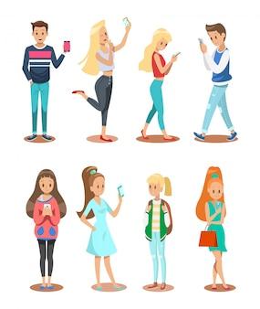 男の子、女の子、スマートフォン、キャラクターデザイン