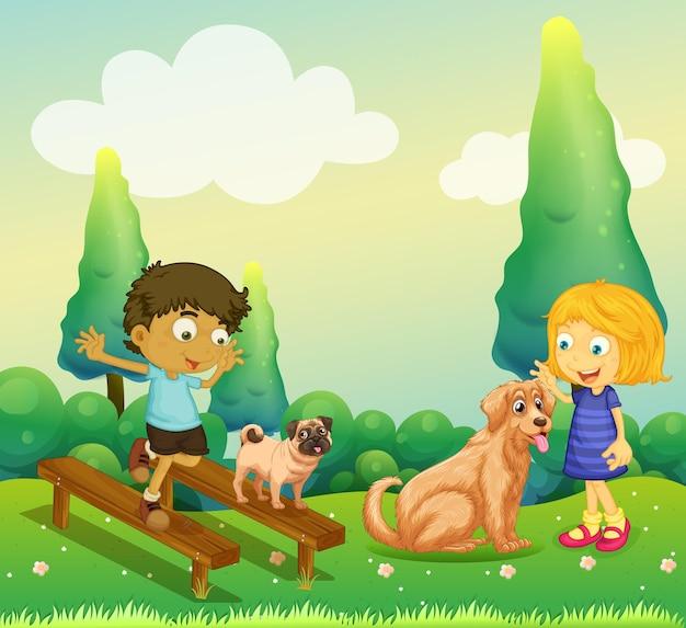 Мальчик и девочка играют с собаками в парке
