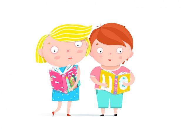 男の子と女の子の本のクリップアートを読む