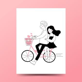 一緒に自転車に乗る男の子と女の子。自転車に乗るカップル。
