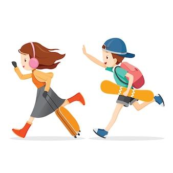 소년과 소녀는 여행을 실행