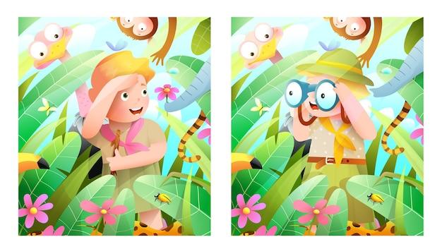 Мальчик и девочка-скауты на сафари в джунглях с африканскими животными, глядя в бинокль