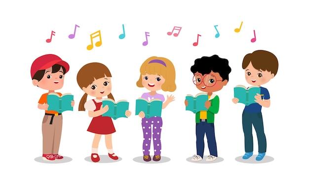 男の子と女の子が一緒に歌っています。学校保育園合唱団。子供たちのクリップアート。分離されたフラットスタイルの漫画。
