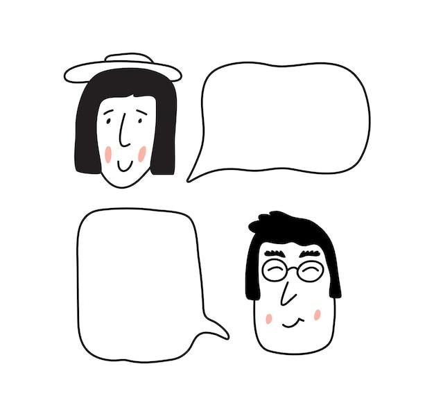 話している男の子と女の子。テキスト用の場所のあるバブル。美しいベクトルイラスト漫画スカンジナビアデザインスタイル