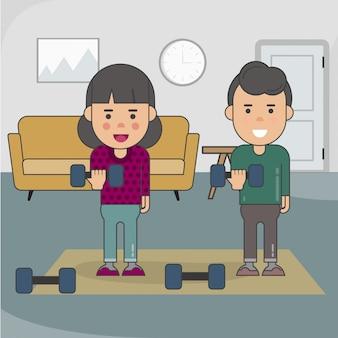 Мальчик и девочка тренируется дома с гантелями