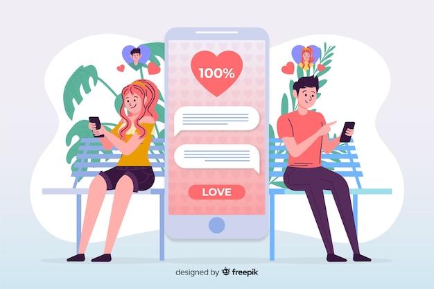 데이트 앱을 사용하는 소년과 소녀