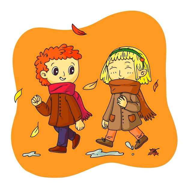 가 시간에 걷는 소년과 소녀. 따뜻한 비옷과 스카프를 입은 귀여운 아이들은 낙엽을 즐기고 야외에서 함께 시간을 보냅니다. 4계절 개념의 변화입니다. 벡터 문자 그림