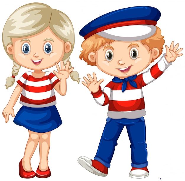 Мальчик и девочка машут привет