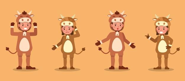 牛の衣装のキャラクターを着ている男の子と女の子。感情を込めた様々なアクションでのプレゼンテーション。