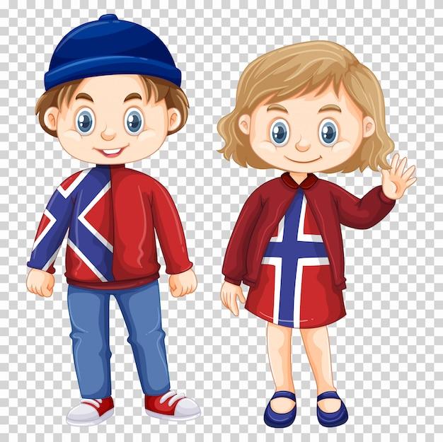 소년과 소녀 노르웨이 셔츠를 입고