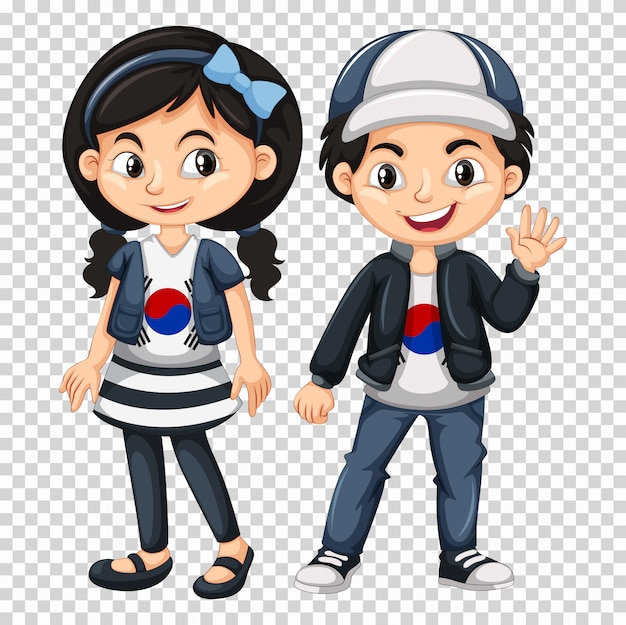 한국 국기와 셔츠를 입고 소년과 소녀
