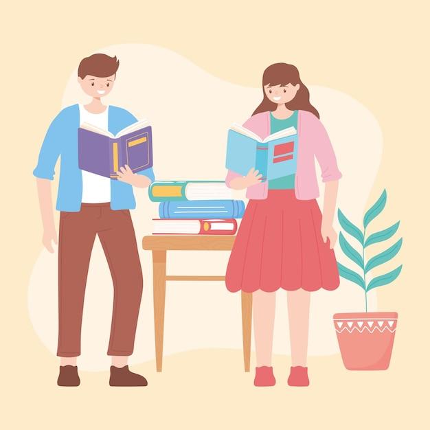 教育イラストを読んで勉強する本を持つ少年と少女
