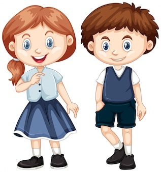 소년과 소녀의 행복한 미소
