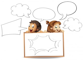 Boy and girl with speech bubble templates