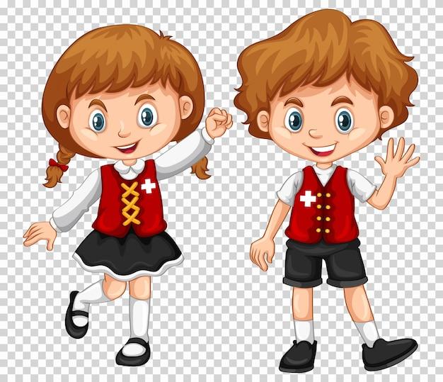 Мальчик и девочка с флагом швейцарии на рубашках