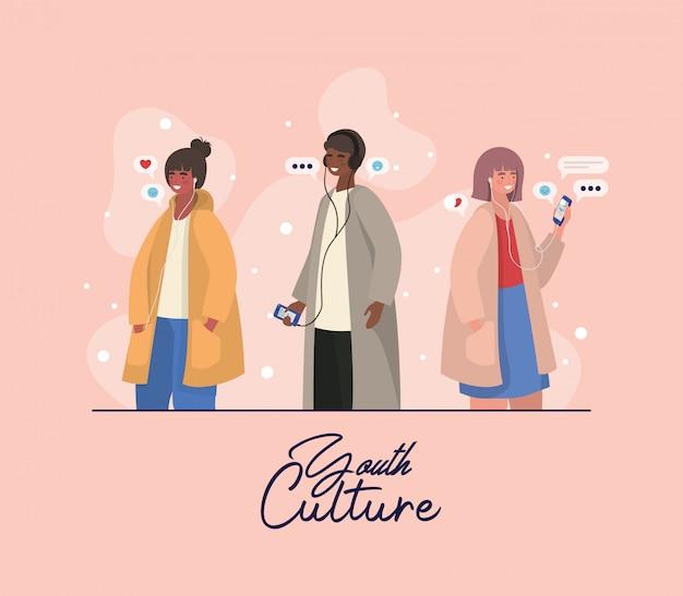 男の子と女の子のスマートフォンとbublesデザイン、若者文化の人々クールな人間のプロファイルとユーザーテーマ