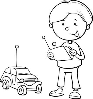 Мальчик и удаленная страница раскраски автомобиля