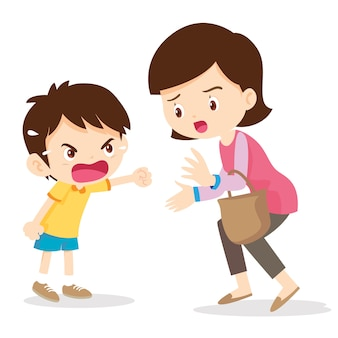 Boy angry shouting with mother