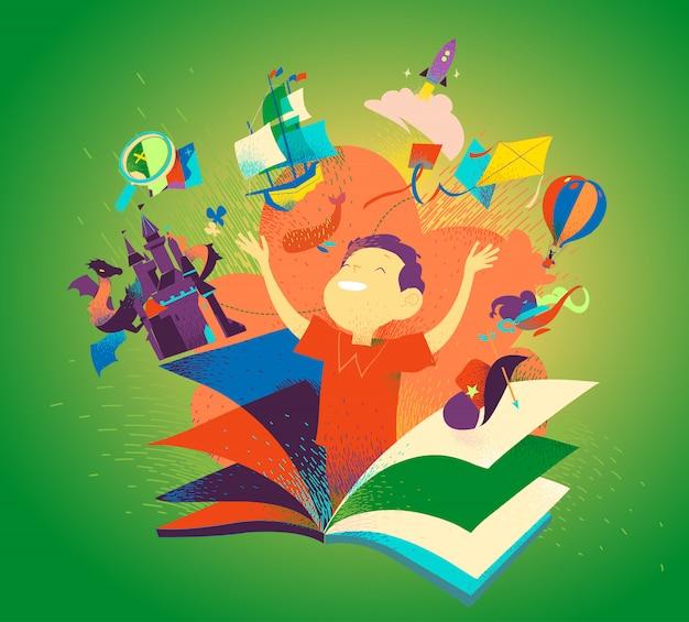 Мальчик появляется из книги. концепция чтения книг, как приключение. детская фантазия, сказки, рассказы, открытия. детская литература красочная обложка.
