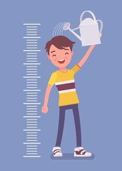 물을 수 있는 아이 키 성장 차트의 소년