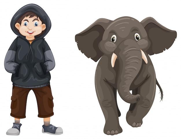 Boy and baby elephant