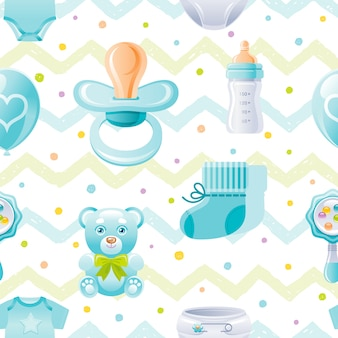 Boy baby shower seamless pattern
